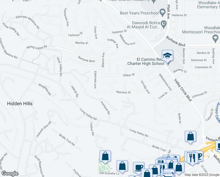 map of restaurants, bars, coffee shops, grocery stores, and more near 5309 Blanco Avenue in Woodland Hills