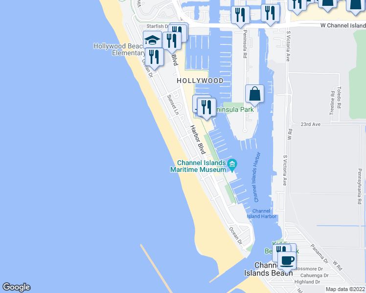 map of restaurants, bars, coffee shops, grocery stores, and more near 3641 Ocean Drive in Oxnard