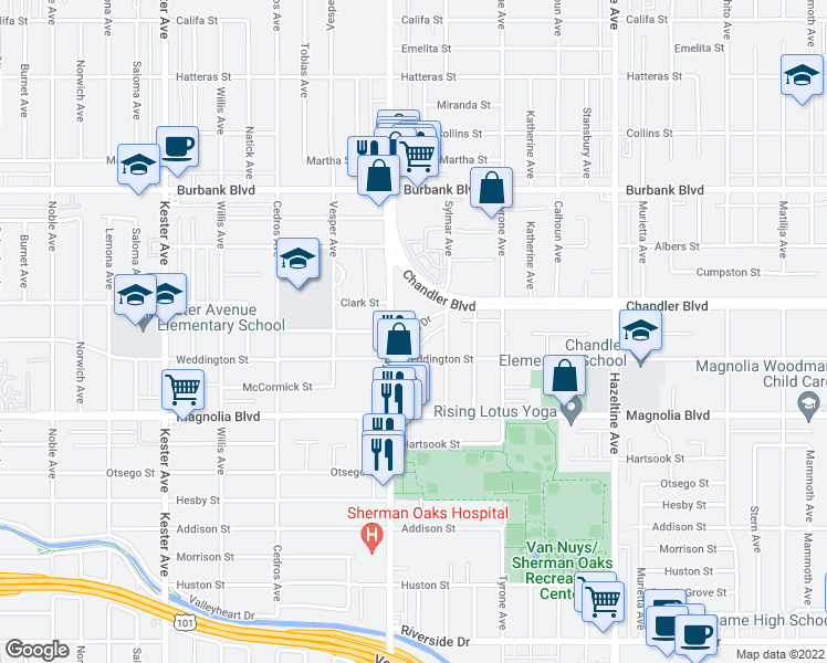map of restaurants, bars, coffee shops, grocery stores, and more near Los Angeles River Bike Path in Los Angeles
