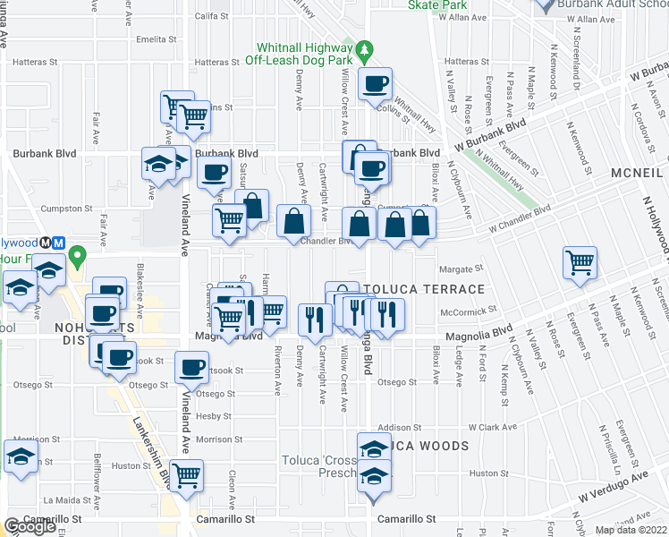 map of restaurants, bars, coffee shops, grocery stores, and more near 5309 Cartwright Avenue in Los Angeles