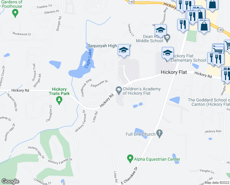 map of restaurants, bars, coffee shops, grocery stores, and more near 2505 East Cherokee Drive in Woodstock