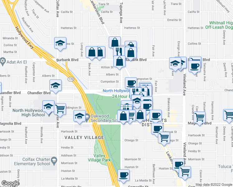 map of restaurants, bars, coffee shops, grocery stores, and more near 11405 Chandler Boulevard in Los Angeles