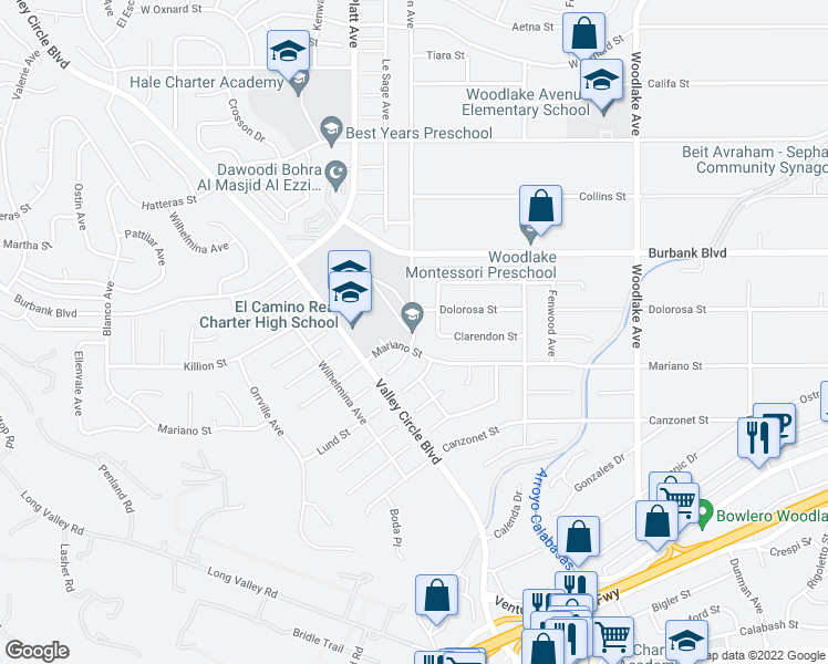 map of restaurants, bars, coffee shops, grocery stores, and more near 5401-5499 Manton Avenue in Los Angeles