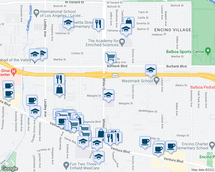 map of restaurants, bars, coffee shops, grocery stores, and more near 5460 White Oak Avenue in Los Angeles