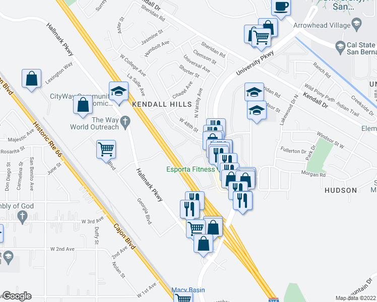 map of restaurants, bars, coffee shops, grocery stores, and more near 2065 West College Avenue in San Bernardino