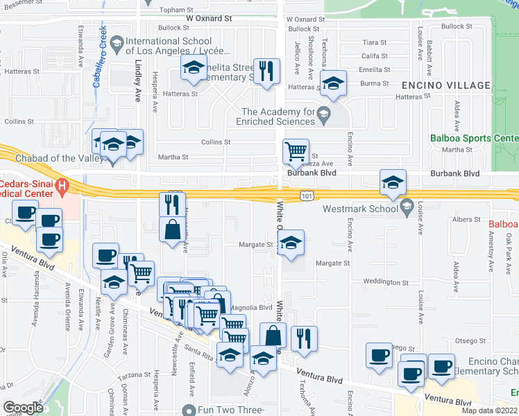 map of restaurants, bars, coffee shops, grocery stores, and more near 5464 Yarmouth Avenue in Los Angeles