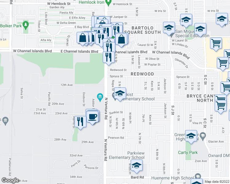 map of restaurants, bars, coffee shops, grocery stores, and more near 3138 Napa Street in Oxnard