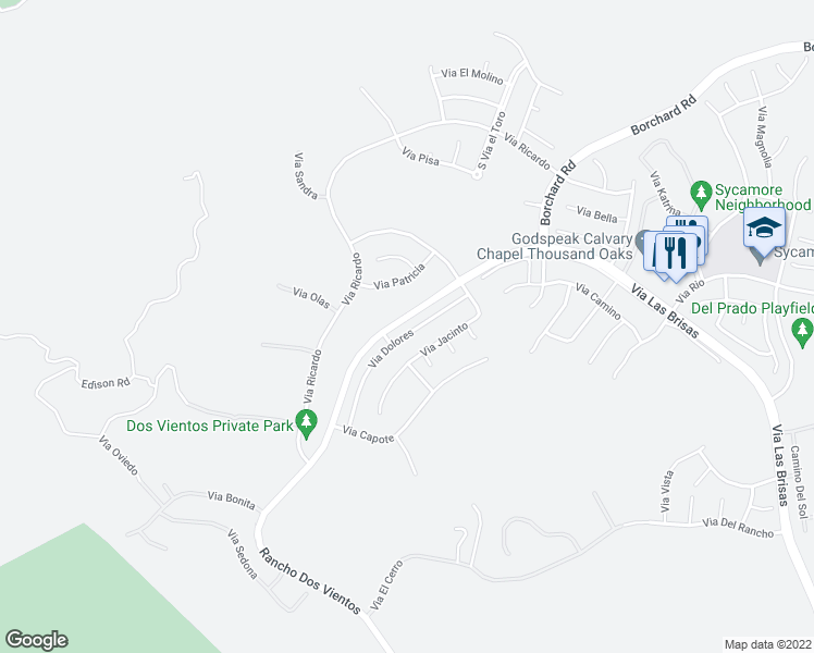 map of restaurants, bars, coffee shops, grocery stores, and more near 5253 Via Dolores in Thousand Oaks