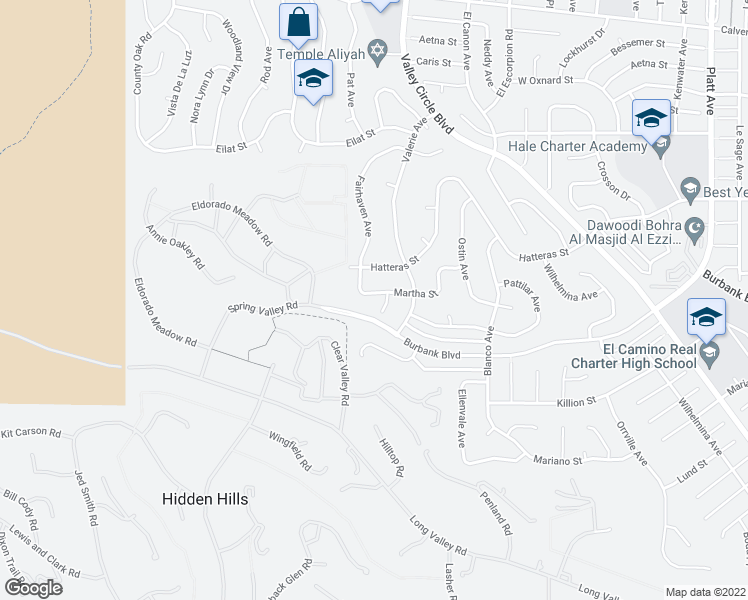 map of restaurants, bars, coffee shops, grocery stores, and more near 24448 Martha Street in Woodland Hills
