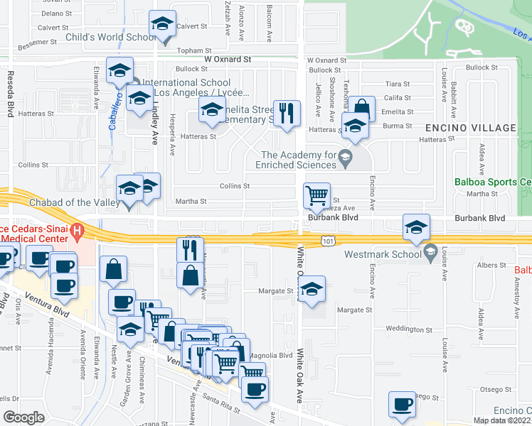 map of restaurants, bars, coffee shops, grocery stores, and more near 17807 Burbank Boulevard in Los Angeles