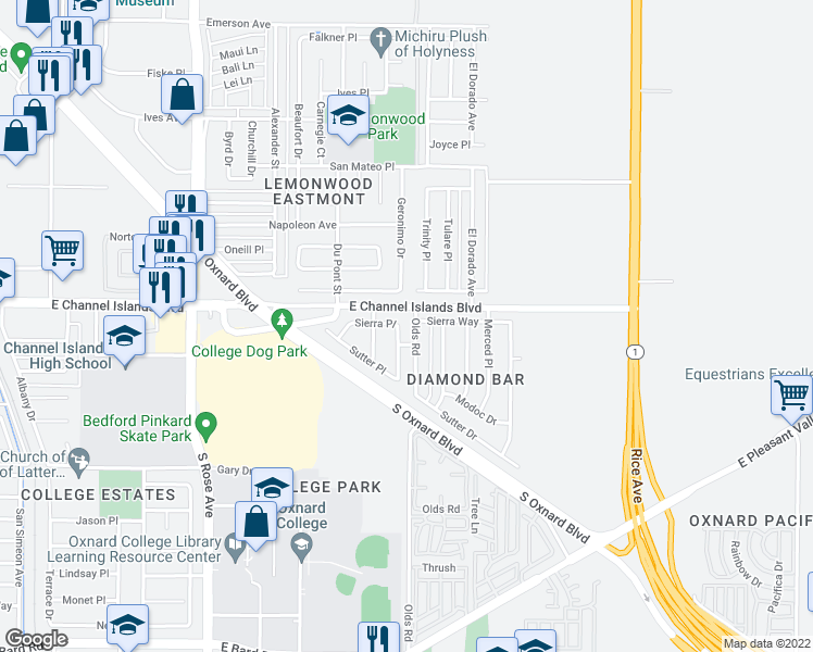 map of restaurants, bars, coffee shops, grocery stores, and more near 3006 Geronimo Drive in Oxnard