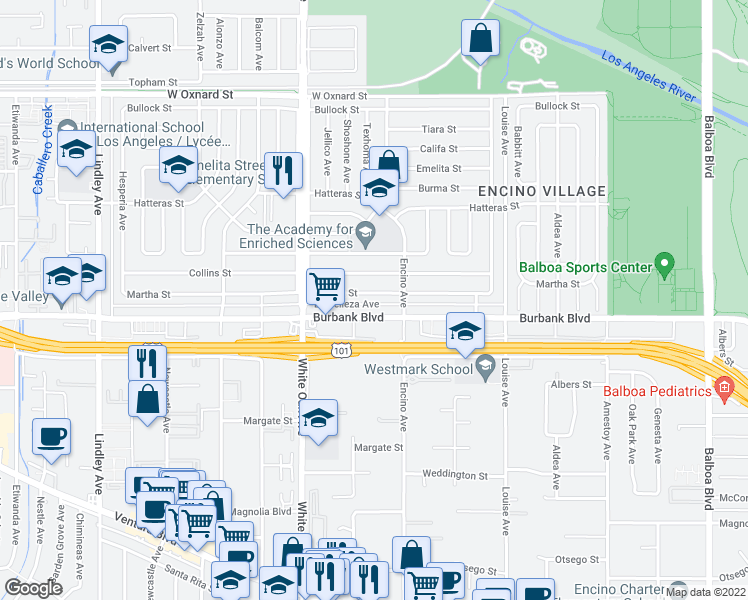 map of restaurants, bars, coffee shops, grocery stores, and more near 17540 Martha Street in Encino