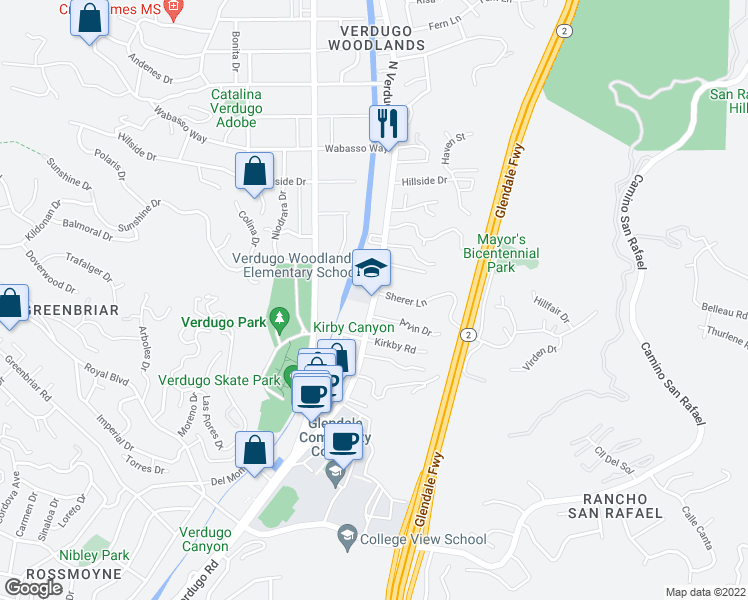 map of restaurants, bars, coffee shops, grocery stores, and more near 1725-1735 North Verdugo Road in Glendale