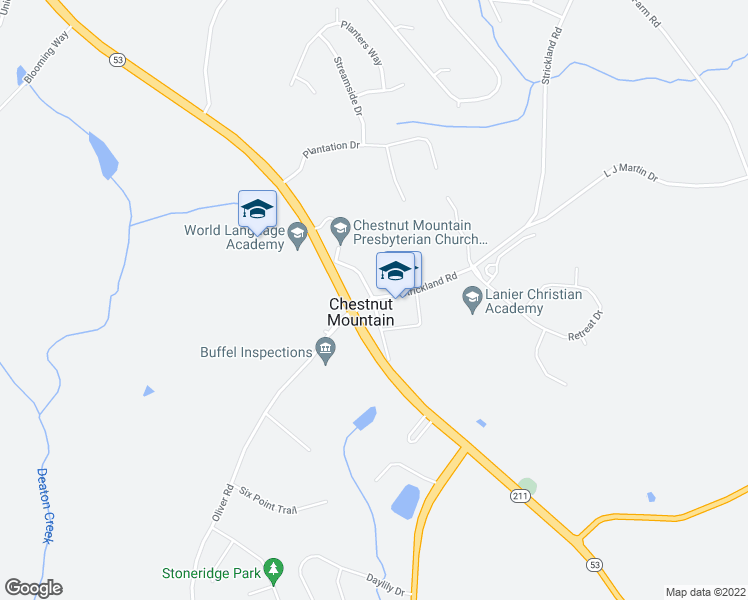 map of restaurants, bars, coffee shops, grocery stores, and more near Strickland Road in Flowery Branch