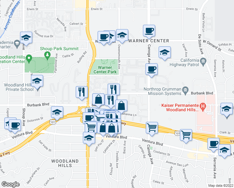 map of restaurants, bars, coffee shops, grocery stores, and more near Burbank Boulevard & Owensmouth Avenue in Los Angeles
