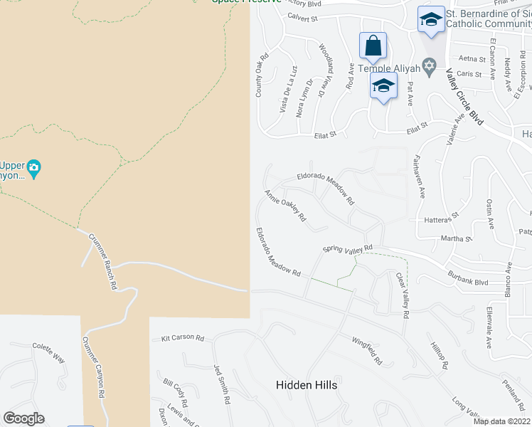 map of restaurants, bars, coffee shops, grocery stores, and more near 24975 Eldorado Meadow Road in Hidden Hills