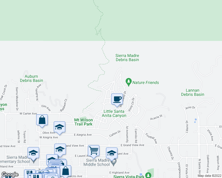 map of restaurants, bars, coffee shops, grocery stores, and more near 729 Orange Drive in Sierra Madre