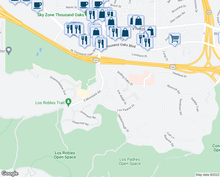 map of restaurants, bars, coffee shops, grocery stores, and more near 105 Quails Trail in Thousand Oaks