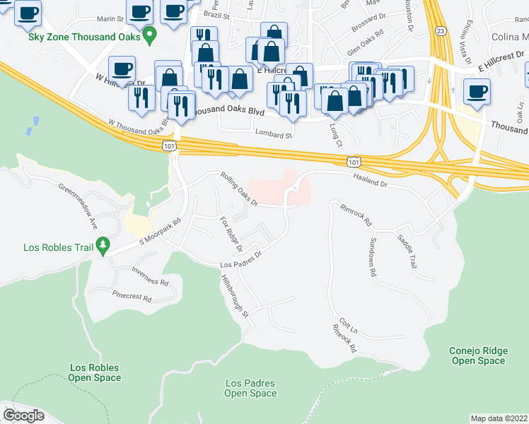 map of restaurants, bars, coffee shops, grocery stores, and more near 300 Rolling Oaks Drive in Thousand Oaks