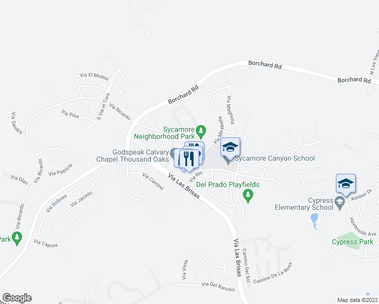 map of restaurants, bars, coffee shops, grocery stores, and more near 255 Via Mirabella in Thousand Oaks