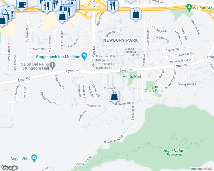 map of restaurants, bars, coffee shops, grocery stores, and more near 181 Beech Road in Thousand Oaks