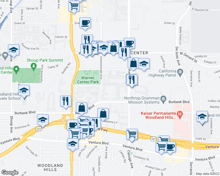 map of restaurants, bars, coffee shops, grocery stores, and more near 5760 Owensmouth Avenue in Woodland Hills