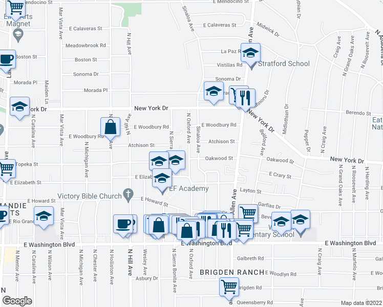 map of restaurants, bars, coffee shops, grocery stores, and more near 1704 North Oxford Avenue in Pasadena