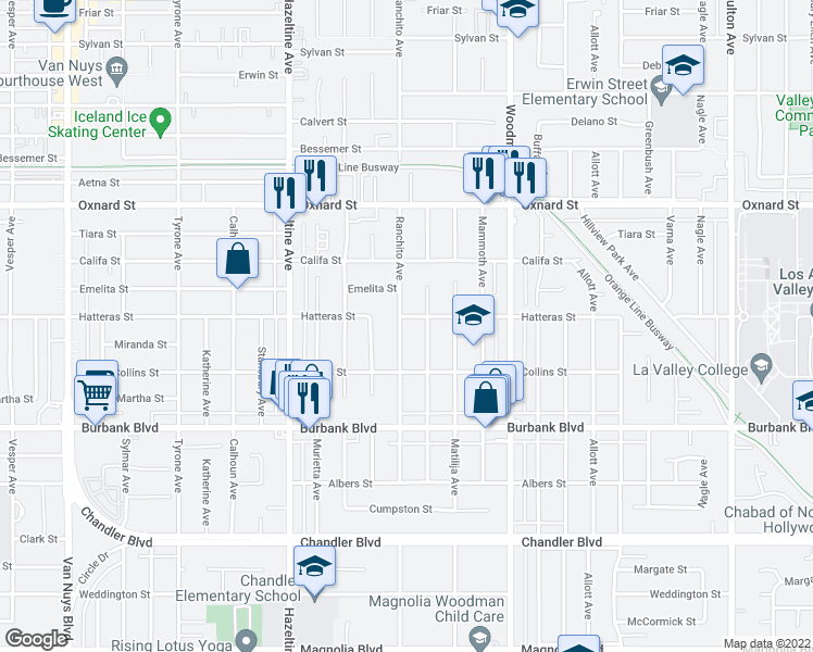 map of restaurants, bars, coffee shops, grocery stores, and more near 5752 Ranchito Avenue in Los Angeles