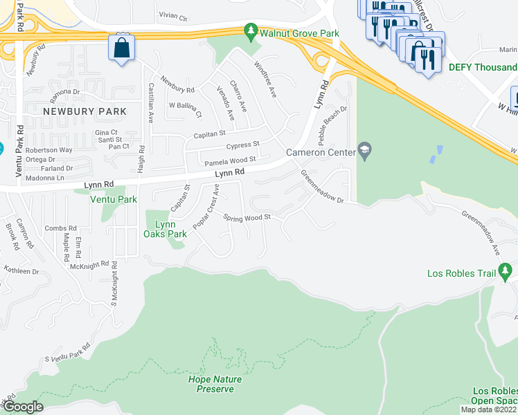 map of restaurants, bars, coffee shops, grocery stores, and more near 711 Blue Oak Avenue in Thousand Oaks