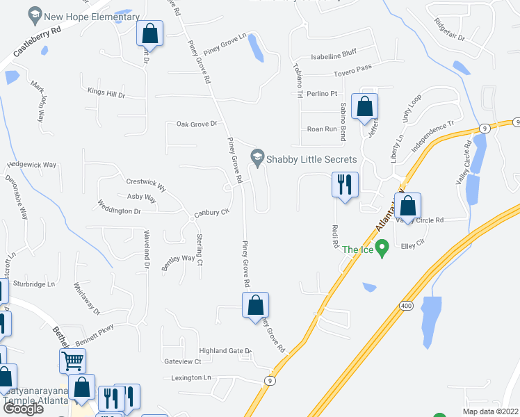 map of restaurants, bars, coffee shops, grocery stores, and more near 5005 Sherwood Way in Cumming