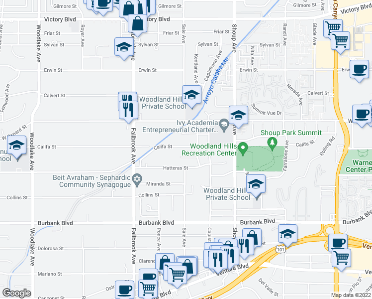 map of restaurants, bars, coffee shops, grocery stores, and more near 22554 Califa Street in Woodland Hills
