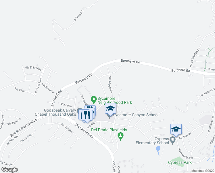map of restaurants, bars, coffee shops, grocery stores, and more near 105 Via Magnolia in Thousand Oaks