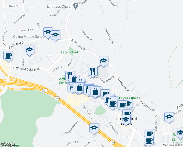 map of restaurants, bars, coffee shops, grocery stores, and more near 200-242 North Conejo School Road in Thousand Oaks