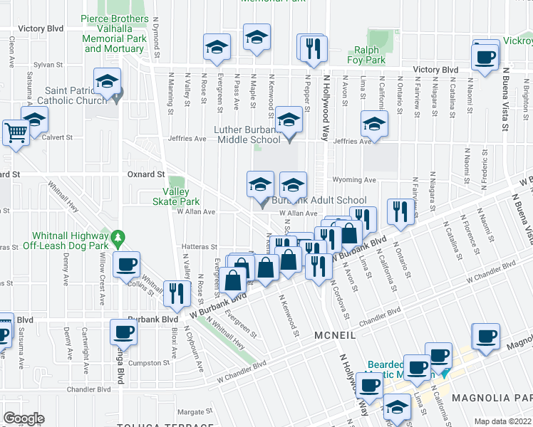 map of restaurants, bars, coffee shops, grocery stores, and more near 3811 West Allan Avenue in Burbank