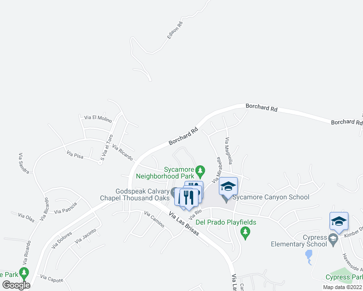 map of restaurants, bars, coffee shops, grocery stores, and more near 4747 Via Altamira in Thousand Oaks
