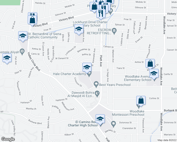 map of restaurants, bars, coffee shops, grocery stores, and more near 23830 Califa Street in Los Angeles