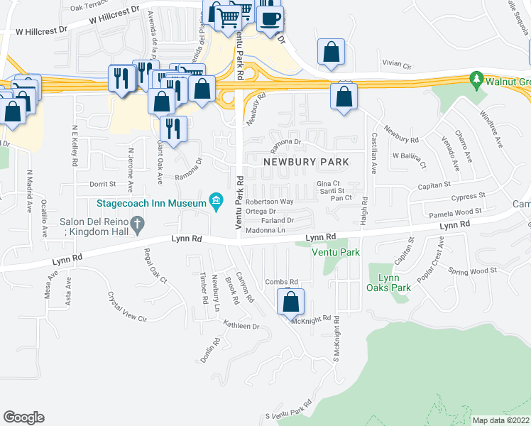 map of restaurants, bars, coffee shops, grocery stores, and more near 46 Ortega Drive in Thousand Oaks