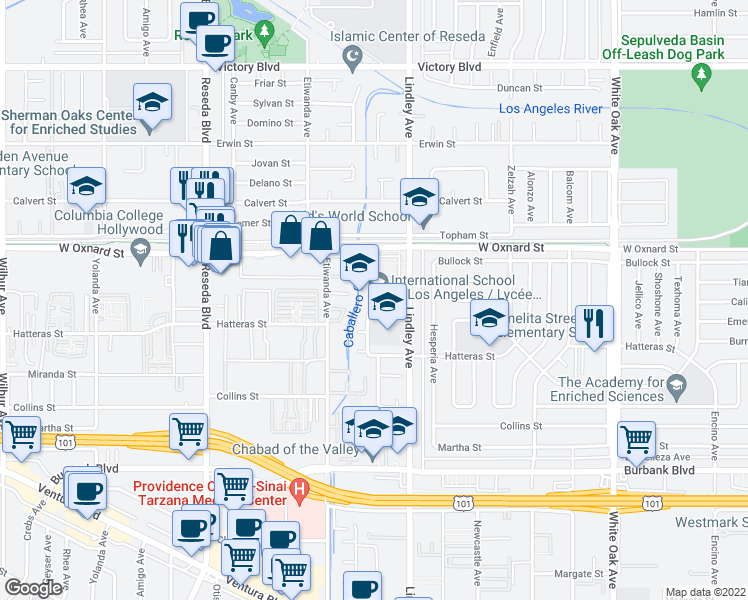 map of restaurants, bars, coffee shops, grocery stores, and more near 5955 Lindley Avenue in Los Angeles