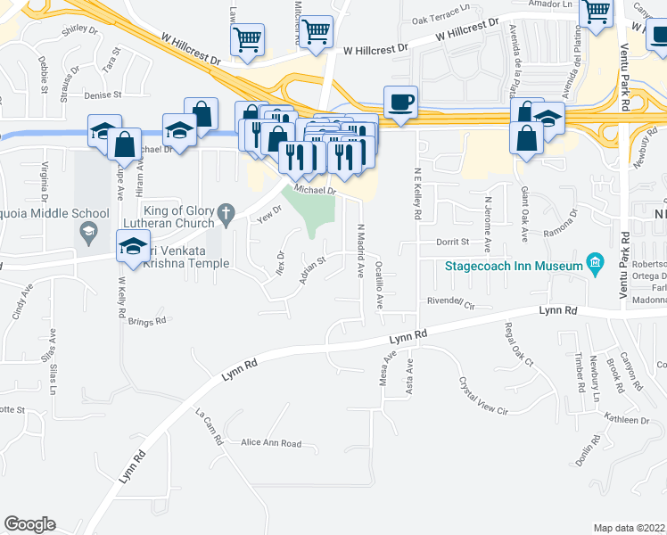 map of restaurants, bars, coffee shops, grocery stores, and more near 25 North Northam Avenue in Thousand Oaks