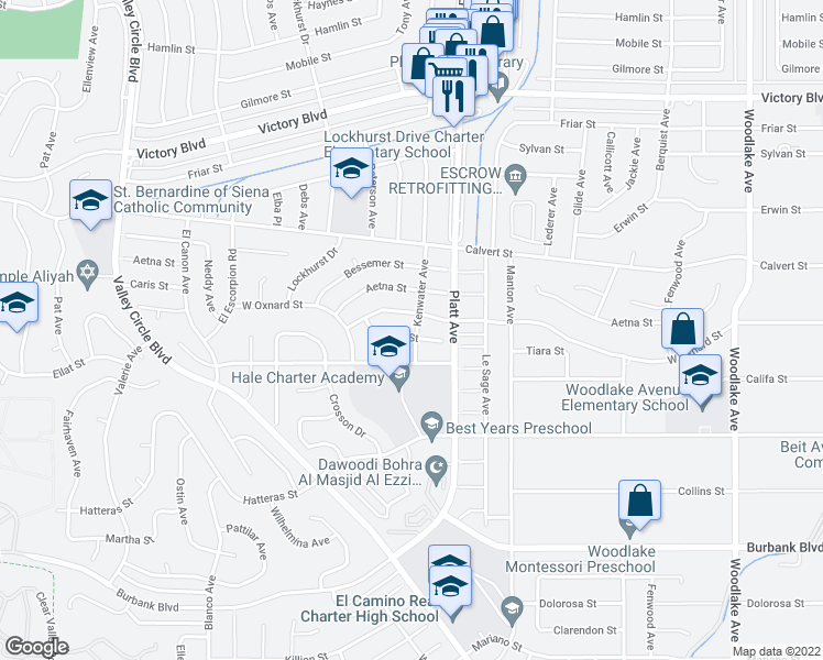 map of restaurants, bars, coffee shops, grocery stores, and more near 23801 Tiara Street in Los Angeles