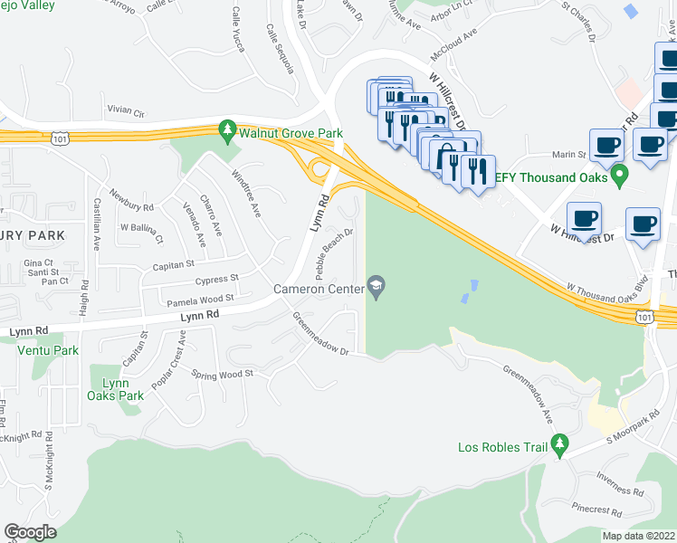 map of restaurants, bars, coffee shops, grocery stores, and more near 607 Westchester Lane in Thousand Oaks