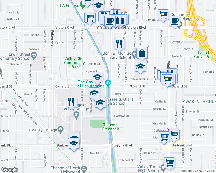 map of restaurants, bars, coffee shops, grocery stores, and more near Lancer Lane in Los Angeles