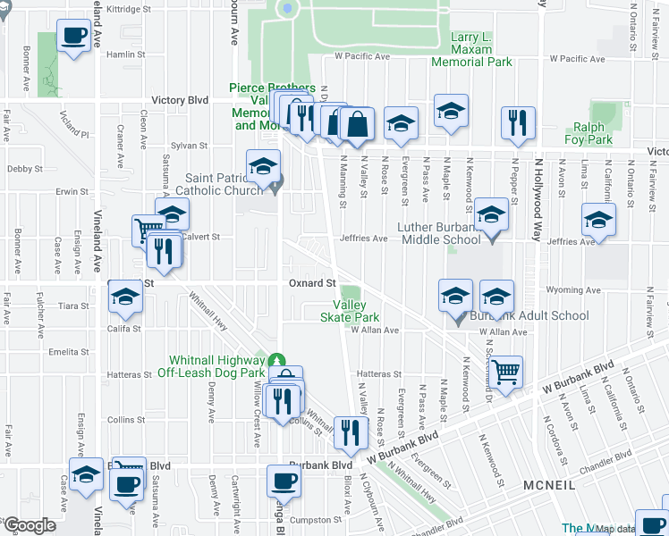 map of restaurants, bars, coffee shops, grocery stores, and more near 1700-1730 Clybourn Avenue in Burbank