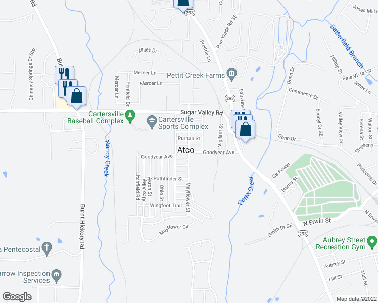 map of restaurants, bars, coffee shops, grocery stores, and more near 9 Goodyear Avenue in Cartersville