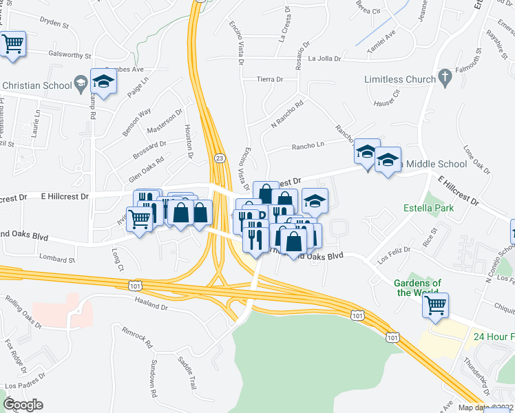 map of restaurants, bars, coffee shops, grocery stores, and more near 166 North Rancho Road in Thousand Oaks