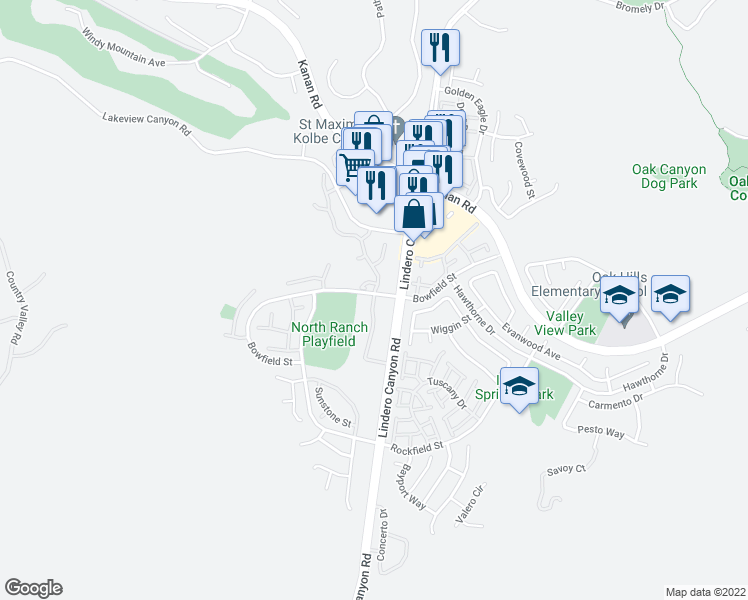 map of restaurants, bars, coffee shops, grocery stores, and more near 973 Westcreek Lane in Thousand Oaks