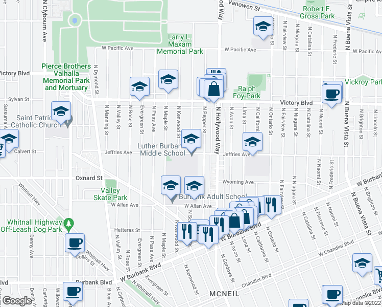 map of restaurants, bars, coffee shops, grocery stores, and more near 3700 Jeffries Avenue in Burbank