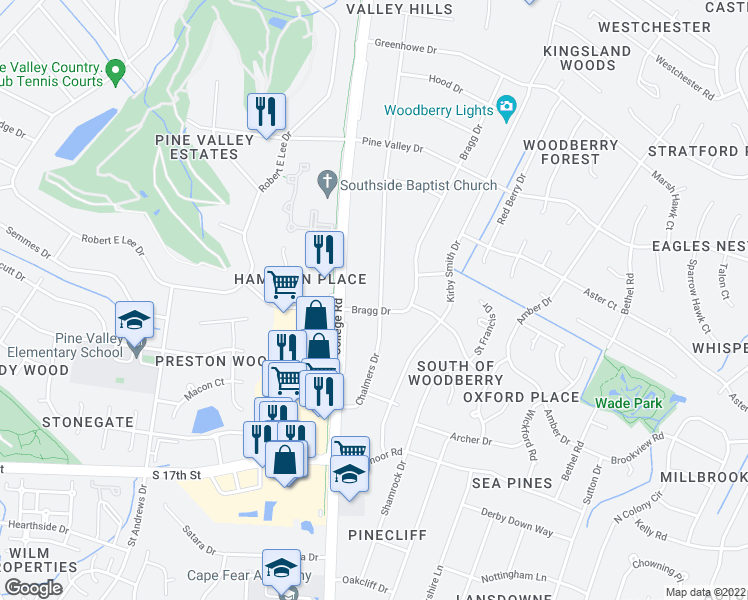 map of restaurants, bars, coffee shops, grocery stores, and more near 813 Bragg Drive in Wilmington