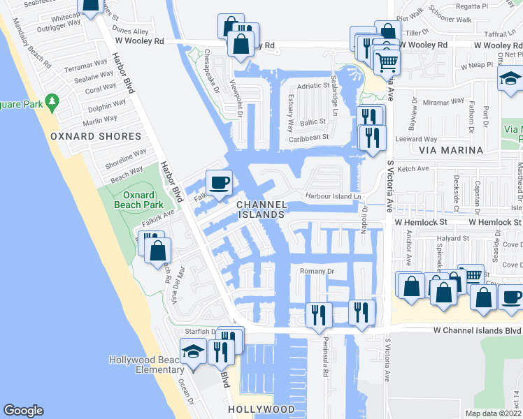 map of restaurants, bars, coffee shops, grocery stores, and more near Oxnard Avenue in Oxnard