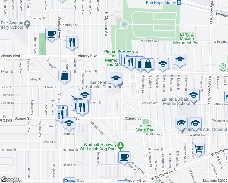 map of restaurants, bars, coffee shops, grocery stores, and more near 6129 Cahuenga Boulevard in Los Angeles